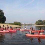 Kanovaren tijdens een bedrijfsuitje in Gelderland