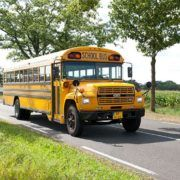 Old-timer schoolbus voor een bedrijfsuitje in Gelderland